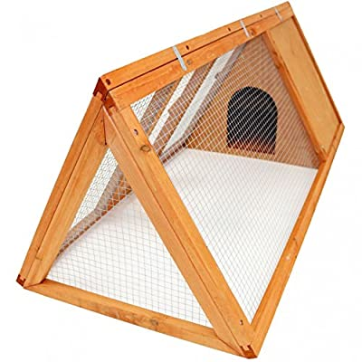 Oypla Wooden Outdoor Triangle Rabbit Guinea Pig Pet Hutch Run Cage
