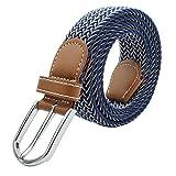 """MOONPOP Unisex Flechtgürtel Elastischer Stoffgürtel Stretchgürtel Waistband mit Metallschnalle für Taille 28-36"""" (Blau mit Weiß)"""
