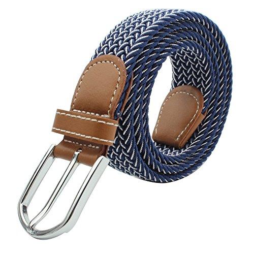 MOONPOP Unisex Flechtgürtel Elastischer Stoffgürtel Stretchgürtel Waistband mit Metallschnalle für Taille 28-36
