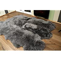 Meryno - Grey sexto 6 sheepskin rug genuine soft wool - Grey, large