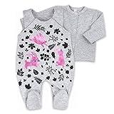 Baby Set Strampler + Shirt grau schwarz lila | Motiv: Hase | Marke: Koala Baby | Babyset 2 Teile mit Blättermotiv für Neugeborene & Kleinkinder | Größe: 6 Monate (68)