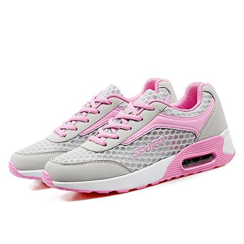 WZG Mme chaussures de rembourrage mode nid d'abeille creux maille coussin chaussures de course occasionnels chaussures de sport Grey