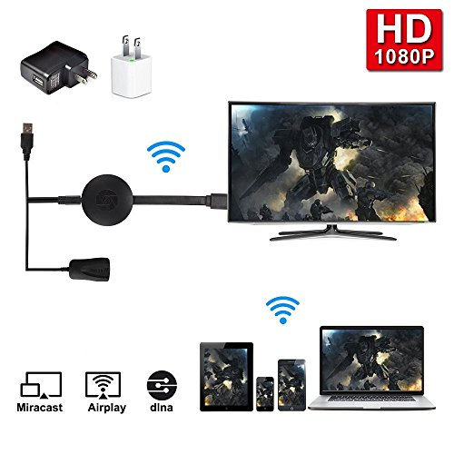Bonega® Wifi Receptor 1080P Audio & Video DLNA Airplay Miracast Dongle Visualización con Enchufe HDMI para Teléfonos Inteligentes Notebook PC Tablet a Monitor de HDTV para Compatible con iOS 9.0 anterior y Android 4.4 y Superior Sistema