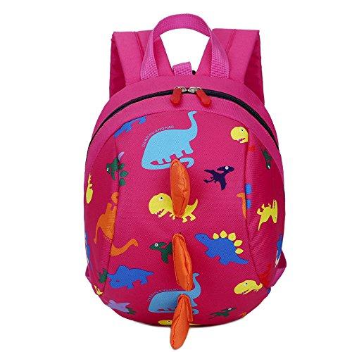 Skang Baby Jungen Mädchen Karikatur Dinosaurier Muster Rucksack Mit Reißverschluss Daypacks Schüler Bag Reisetasche(Einheitsgröße,Fuchsia)