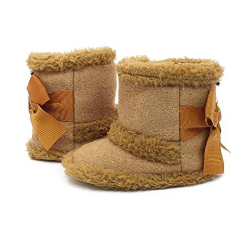 Clode® Kleinkind Mädchen Solide Farbe Warm Halten Baumwolle Schneestiefel Weiche Sohlen Krippe Schuhe Stiefel Winterstiefel Khaki 1gQjpI
