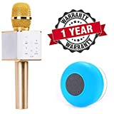 #5: Starford Q7 Karaoke Microphone Wireless Bluetooth Speaker 2-in-1 Handheld Sing & Recording Portable KTV Player Mini Home KTV Music Machine System for iPhone/Android Smartphone/Tablet With Water Resistant Bluetooth 3.0 Shower Speaker With Handsfree Portable Speakerphone & Built-in Mic, Control Buttons and Dedicated Suction Cup Compatible All Smartphone (One Year Warranty)