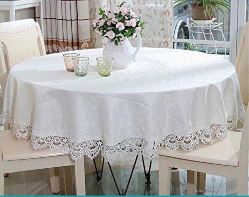 sse Decor Esstisch Schrank, runde Tischdecke weiß Tisch umfasst die Overlay für Hochzeit Parteien, mit Spitze, Polyester, with White lace, Round, Diameter 180cm ()