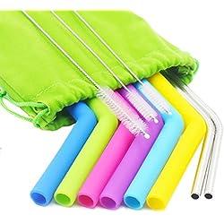 Ulable Pailles en silicone réutilisables Pailles réutilisables colorées, lot de 8 (6 silicone, 2 en acier inoxydable), 3 brosses nettoyantes, 1 pochette de rangement