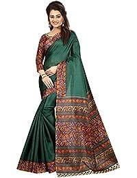 JENCY FASHION Kalamkari 5 Silk Saree With Blouse (GREEN)