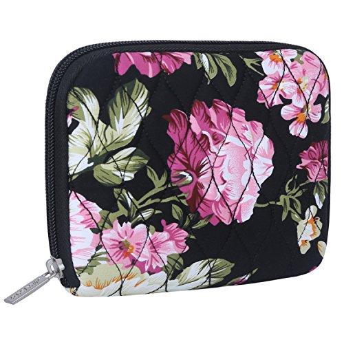 Laptop Travel Fällen (MOSISO Laptop Ladegerät Fall, Tragbare Tasche Travel Storage Management Ripple Muster Reißverschluss ärmel Sleeve Tasche Pouch Kompatibel MacBook Power Adapter/Maus/Cord/SSD/HDD Gehäuse, Pfingstrose)