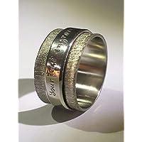Anello in argento, doppia fascia con testo personalizzato