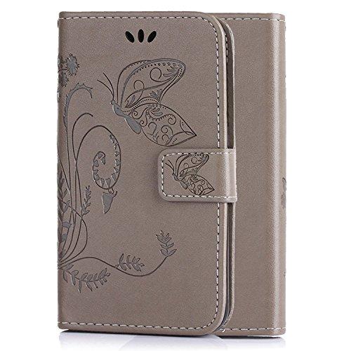 LDUDU® Housse de protection en cuir PU pour Apple iPhone 4 4S Etui coque case cover avec fente de patinage motifs papillons Impression/Gris