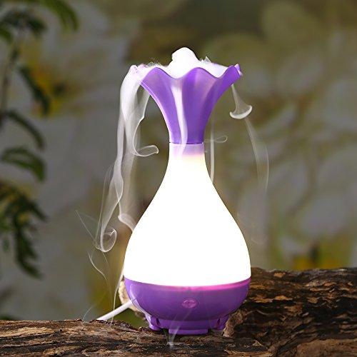 ThreeH Humidifier USB portable huile essentielle à ultrasons diffuseur de brume avec veilleuse LED pour la maison/bureau/hôtel/chambre enfants H-001Purple