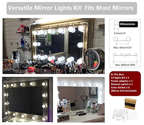 WanEway Hollywood-Stil LED Spiegelleuchte (Schminklicht, Spiegellampe, Schminkleuchte, Make-up Licht, Tageslichtlampe), LED-Licht Schminktisch Spiegel Lichter Set für Kosmetikspiegel mit Dimmfunktion, 6000 Kelvin, Spiegel Nicht Inbegriffen, 14 LED-Lampen - 4