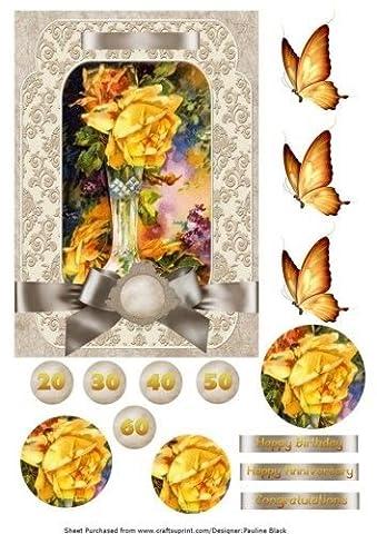 Yellow Rose Vase Damask by Pauline Black