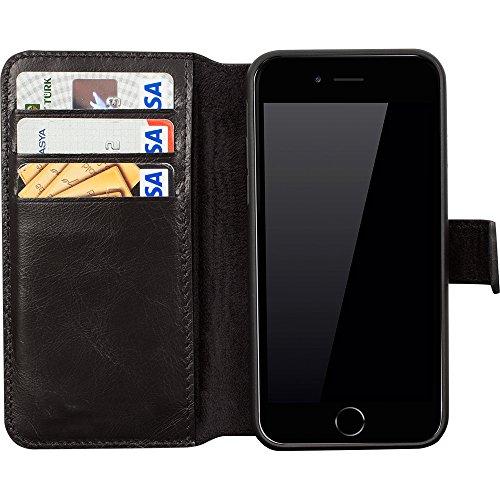 "Solo Pelle iPhone 6 Plus / 6S Plus abnehmbare Lederhülle (2in1) inkl. Kartenfächer für das original Iphone 6 Plus / 6S Plus in Cognac Braun ""Flex-Wallet"" Schwarz"