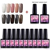 Saint-Acior UV Nagellack Soak off UV Gel Nagelgel 10 Farben Gellacken Set+ Top Base Coat