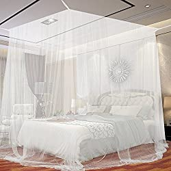 JTDEAL Mosquito Net 94.5 Inch Height White Mesh mosquito netting for Four-Poster Bed Rectangular Mosquito Net Protect Against Insects and Mosquitos.