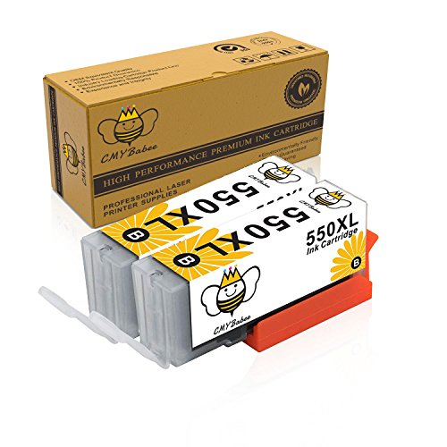 CMYBabee 2-Pack Hohe Ausbeute Ersatz für Canon PGI-550XL PGI 550 XL PGI550 XL Tintenpatronen (2 Groß Schwarz) Kompatibel für Canon PIXMA MX925 iP7250 iX6850 MG6450 MG5450 MG5650 MG6650 MG5550 MG5400 iP8750 iP7200 Drucker