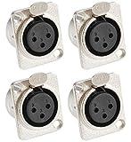 Adam Hall Connectors 7837 - 4er Set XLR-Einbaubuchse female 3-pol D-Typ silber Einbaukupplung