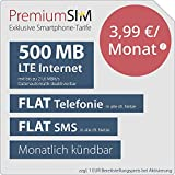PremiumSIM LTE 500 MB monatlich kündbar (Flat Internet 500 MB LTE mit max. 21,6 MBit/s mit deaktivierbarer Datenautomatik, Flat Telefonie, Flat SMS und Flat EU-Ausland, 3,99 Euro/Monat)