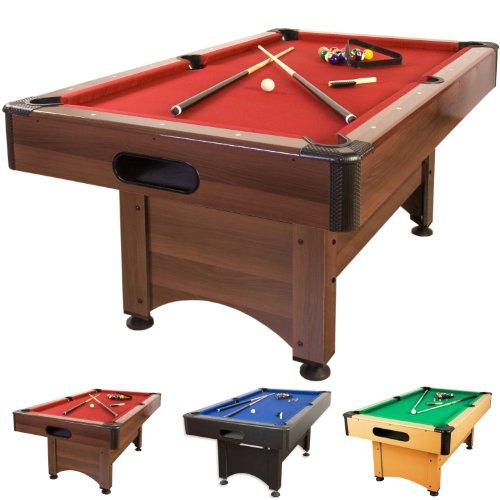 """5 ft Billardtisch """"Trendline"""" + Zubehör, 3 Farbvarianten, 184x108x82 cm (LxBxH), dunkles Holzdekor, rotes Tuch"""