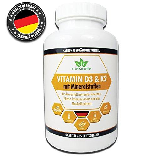 Vitamin D3 und Vitamin K2 MK7 HOCHDOSIERT mit Mineralstoffen, in geprüfter deutscher Qualität - vegan- laktosefrei, glutenfrei, ohne künstliche Farbstoffe, 180 Kapseln (6-Monatsvorrat), für den erhalt von Knochen, Zähnen und zur Unterstützung des Immunsystems sowie der Muskelfunktion