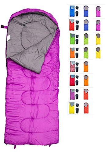 REVALCAMP Violett-R Schlafsack für Drinnen & Draußen. Toll für Kinder, Jungen, Mädchen, Jugendliche & Erwachsene. Ultraleichte und Kompakte Schlafsäcke sind ideal zum Wandern & Camping