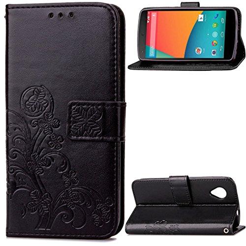SATURCASE Nexus 5 Coque, Lucky Clover PU Cuir Magnétique Flip Portefeuille Support Porte-Carte Coque Housse Étui pour Google LG Nexus 5 Noir