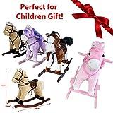 JJOnlinestore–Balancín Musical caballo pony de peluche de Navidad cumpleaños equitación Ride On Toy Juego sonido música cola
