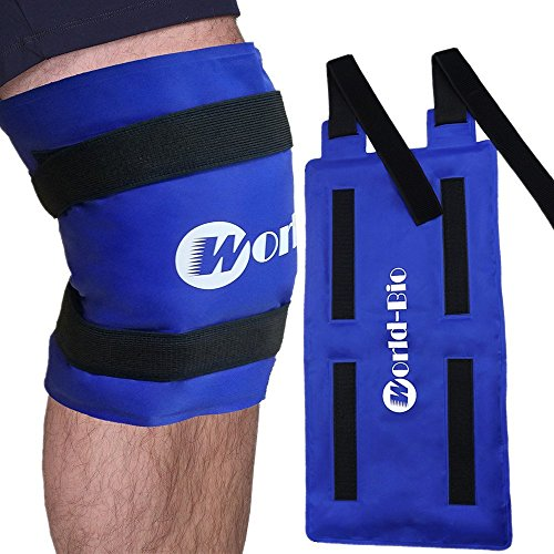 Bolsa gel reutilizable de hielo multiusos para aplicar frío y calor - con banda de compresión - Para lesiones en la rodilla, alivio rápido del dolor en espalda, hombro y tobillo - grande (25 * 45 cm)