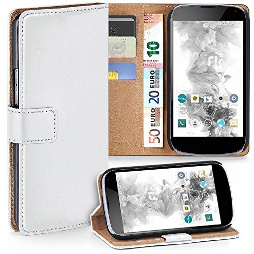LG Google Nexus 4 Hülle Weiß mit Karten-Fach [OneFlow 360° Book Klapp-Hülle] Handytasche Kunst-Leder Handyhülle für LG Google Nexus 4 Case Flip Cover Schutzhülle Tasche