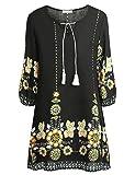 BAISHENGGT Damen Tunika Strandkleid Minikleid Vintage Bohemian Kleider Schwarz-3 X-Large