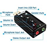 Justec 7.1 Channel USB External Sound Card Audio Adapter With Mic ( 2 Ports )