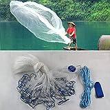 DiLiBee - Rete da pesca di tipo giacchio, per pesca in acqua salata, trasparente, con esca finta e piombo