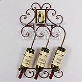 JASNO Schmiedeeiserne Wein Ständer Wand-Ablage Regal auf Dem Kopf auf Tasse Halter Halten bis Zu 4 Becher 3 Flaschen,Red