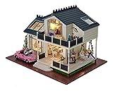DIY-Casa delle bambole in legno in miniatura Handcraft Kit di Provenza, modello: villa, per controllo vocale & & Music box