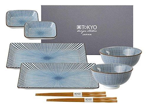Tokyo Design Studio, 2 Sushi Assiette+4 bol+ 2 baguette, porcelaine japonais, Sendan Tokusa blue