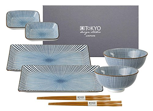 Tokyo Design Studio Sushi Set, Sendan Tokusa blue, 8-teilig Design Sushi-set