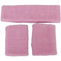 Conjunto de muñequeras y diadema contra el sudor, unisex rosa rosa