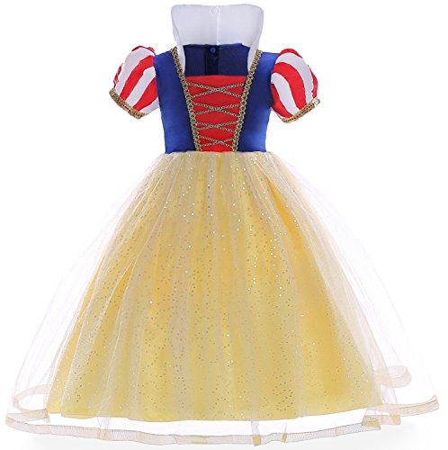 Das beste Mädchen Kostüm Kleid Schneewittchen Halloween Cosplay (150, Gelb 1)