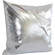 "Funda de cojín simple sólido tiro almohada caso sofá Home Decor By LMMVP (45cm*45cm/18*18"", Plata)"