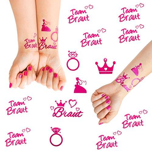 Preisvergleich Produktbild Oblique-Unique® Junggesellinnenabschied temporäres Tattoo Set Braut - Team Braut Hochzeit Pink