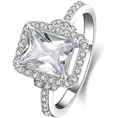 Daesar Joyería Compromiso Anillo de Plata, Sortija para Mujer Boda Banda Personalizado Halo de Diamante Imitación Cushion