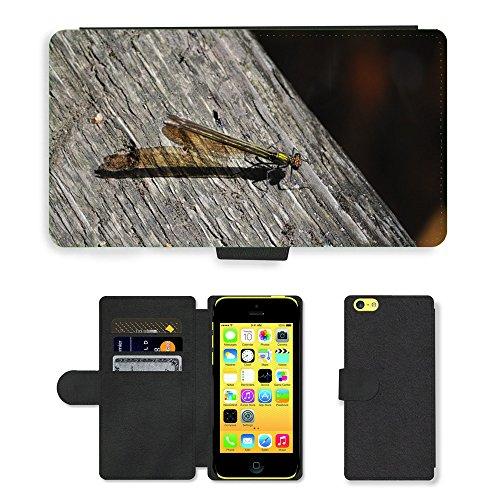 Just Mobile pour Hot Style Téléphone portable étui portefeuille en cuir PU avec fente pour carte//Demoiselles m00138567insectes Libellule aile//Apple iPhone 5C