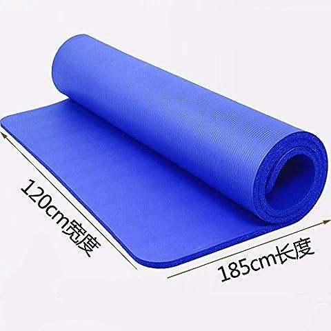 MDRW-Amateurs De Yoga Yoga Pilates Mat Double 120Cm Creusé D'Épaisseur 15Mm Tapis De Sol Fitness Augmentation De La Plaque-Matelas 185*120Cm Bleu Tapis De Yoga