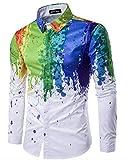 Camisa De Vestir para Hombre Hipster 3D Pintura Salpicaduras De Inyección De Tinta Impreso Colorido Slim Fit Manga Larga Solapa Camisas Ocasionales,XXL
