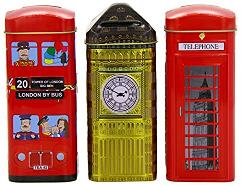 Heritage Range Traditional English Teas in English Icons, 3 x 14 Teabags in London Iconic Money Box Tins - HR27