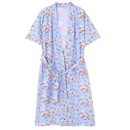 er Lang Schlafanzug Hübsch Mädchen Blumenprint Morgenmantel Trendy Kurzarm V-Ausschnitt Bademantel Kimono Mit Gürtel (Color : Bunte, Size : 2XL) ()