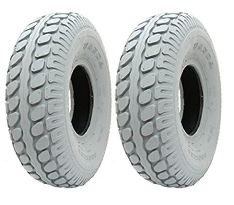 2 - neue Grau Mobility Scooter Reifen 330 x 100 Block pneumatischen Reifen 400-5
